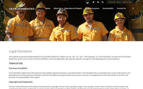 Screenshot of Terms Page grancolombiagold.com - Gran Colombia Gold Corporation - Legal - captured Nov. 13, 2016