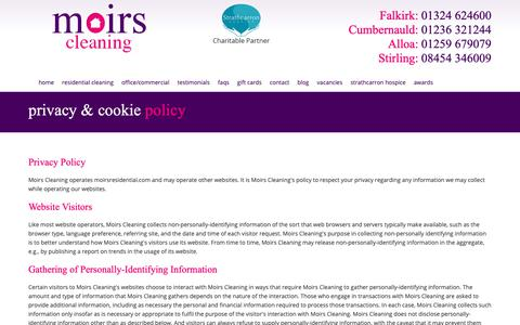 Screenshot of Privacy Page moirsresidential.com - Privacy & Cookie Policy - Moirs Central Scotland's Largest Independent Residential and Commercial Cleaning Company - captured Oct. 18, 2018