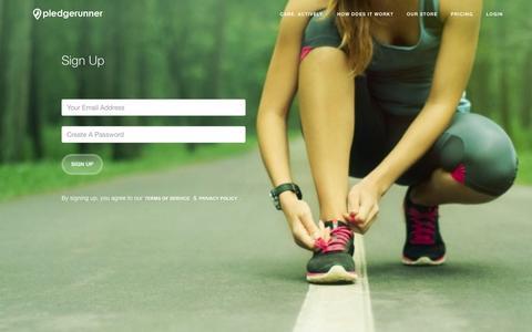 Screenshot of Signup Page pledgerunner.org - Sign up for Pledgerunner - captured Dec. 10, 2015