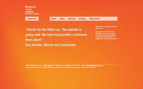 Screenshot of Testimonials Page dinosaurus.com.au - Client testimonials - Dinosaurus Media Solutions - St Kilda, Melbourne, Australia - captured Oct. 5, 2014