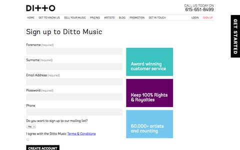 Screenshot of Signup Page dittomusic.com - Users | Ditto Music - captured Oct. 29, 2014