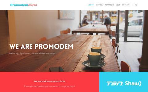 Screenshot of About Page promodem.com - About |  Promodem Media Inc. - captured Nov. 2, 2014