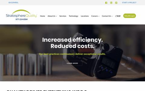 Screenshot of Home Page stratospherequality.com - Stratosphere Quality – Provider of Quality Assurance and Outsourcing Solutions - captured Jan. 12, 2018