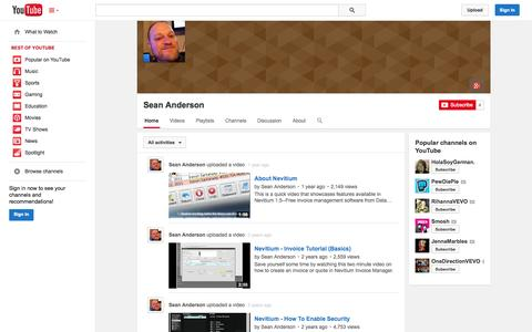 Screenshot of YouTube Page youtube.com - Sean Anderson  - YouTube - captured Oct. 23, 2014