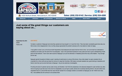Screenshot of Testimonials Page sapaugh.com - Sapaugh Motors - captured Oct. 4, 2014