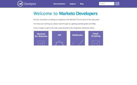 Screenshot of Developers Page marketo.com - Home » Marketo Developers - captured Sept. 13, 2014