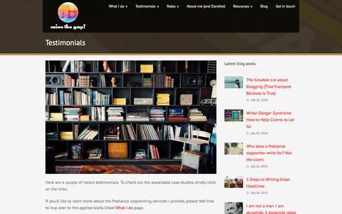 Screenshot of Testimonials Page minethegap.com - Testimonials - Mine The Gap! - captured Aug. 12, 2016