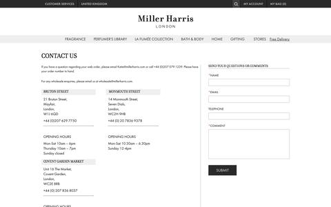 Screenshot of Privacy Page Contact Page millerharris.com - Contact Us - captured Oct. 27, 2014