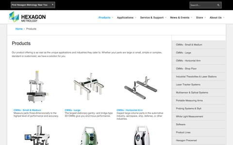 Screenshot of Products Page hexagonmetrology.us - Products - captured Sept. 26, 2014