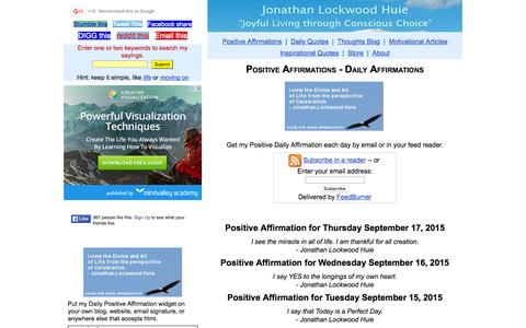 Screenshot of Home Page jonathanlockwoodhuie.com - Positive Affirmations - Daily Affirmations - captured Sept. 16, 2015