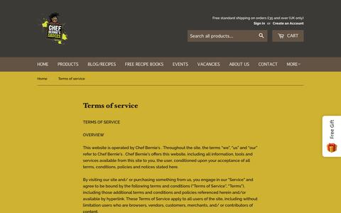 Screenshot of Terms Page chefbernie.co.uk - Terms of service – Chef Bernie's - captured Sept. 27, 2018