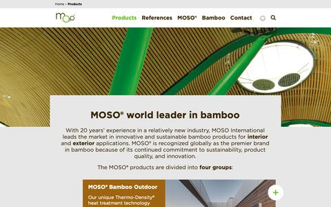 Screenshot of Products Page moso-bamboo.com - Bamboo products | MOSO® Bamboo specialist - captured Oct. 10, 2018