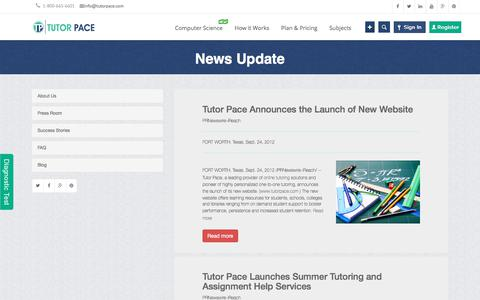 Screenshot of Press Page tutorpace.com - Press Releases for latest News about Online Tutoring   Tutorpace - captured Jan. 17, 2018
