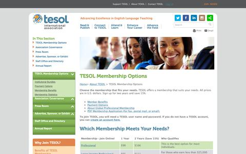 Screenshot of Signup Page tesol.org - TESOL Membership Options - captured Nov. 16, 2018
