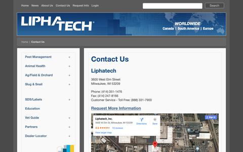 Screenshot of Contact Page liphatech.com - Contact Us - captured Sept. 29, 2018