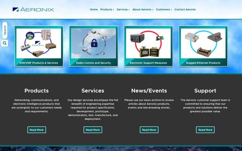 Screenshot of Home Page aeronix.com - Aeronix - Communications, Networking and Surveillance System Solutions - captured July 29, 2018