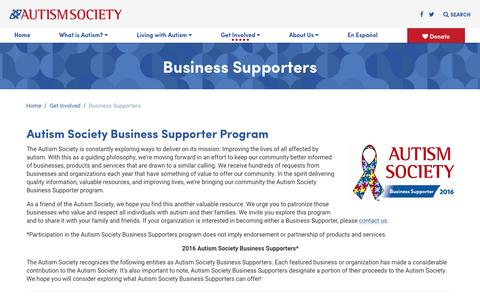 Screenshot of Support Page autism-society.org - Business Supporters - Autism Society - captured Oct. 25, 2016