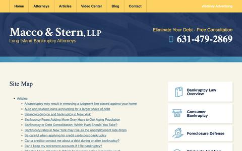 Screenshot of Site Map Page maccosternlaw.com - Site Map | Macco & Stern | Long Island Bankruptcy Lawyer - captured Sept. 28, 2018