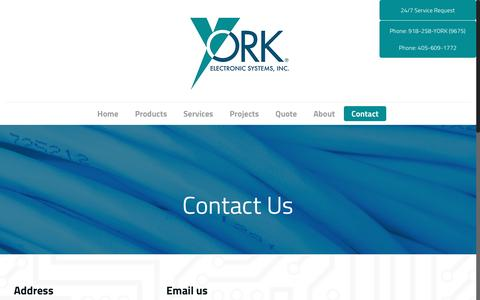 Screenshot of Contact Page yorkes.com - Contact Us   York Electronic Systems - captured Nov. 28, 2016