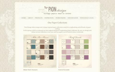 Screenshot of Products Page piondesign.se - Our Paper Collections » Pion Design - captured June 6, 2016