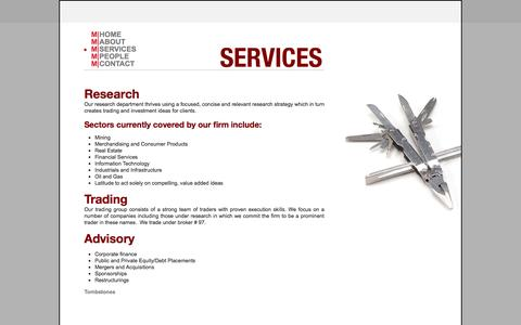 Screenshot of Services Page mpartners.ca - M|PARTNERS - Services - captured Oct. 3, 2014