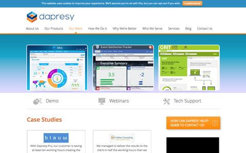 Screenshot of Case Studies Page dapresy.com - Case Studies - Market Research Tool - Dapresy - captured Nov. 3, 2014