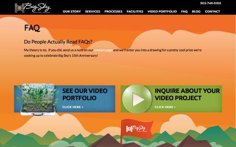 Screenshot of FAQ Page bigskyhd.com - FAQ | Big Sky Digital Media - captured Feb. 7, 2016