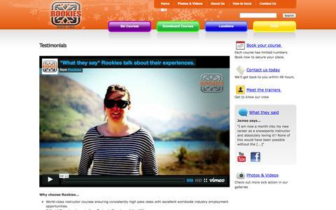 Screenshot of Testimonials Page rookieacademy.com - Testimonials | Rookie Academy - captured Oct. 7, 2014