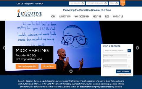 Screenshot of Home Page executivespeakers.com - Motivational Keynote Speakers Bureau | Top Keynote Speakers, Top Motivational Speakers - captured Sept. 21, 2015