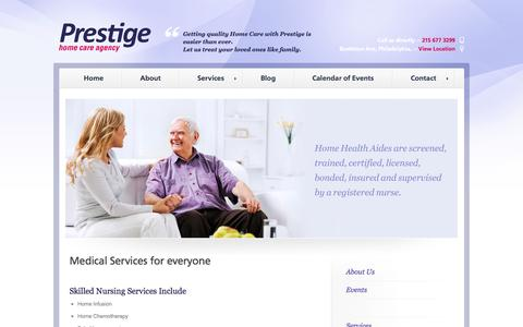 Screenshot of Services Page prestigehomecareagency.net - Services | Prestige Home Care Agency - captured Sept. 30, 2014