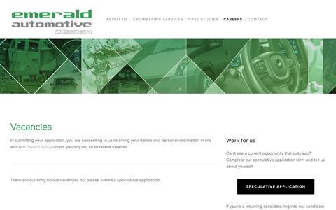 Screenshot of Jobs Page emeraldautomotive.com - Vacancies — Emerald Automotive Design - captured Sept. 28, 2018