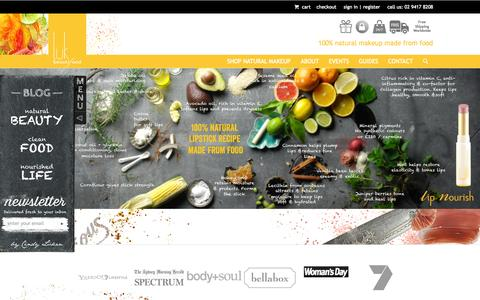 Screenshot of Home Page lukbeautifood.com - luk beautifood - Natural Makeup from clean food - captured Oct. 3, 2014