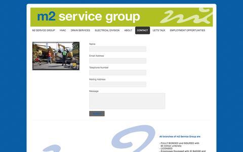 Screenshot of Contact Page webs.com - m2servicegroup - Contact - captured Oct. 23, 2014
