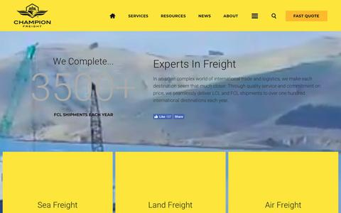 Screenshot of Services Page championfreight.co.nz - Freight Services | Champion Freight - captured Feb. 2, 2018