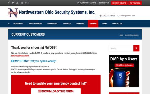 Screenshot of Support Page nwoss.com - Current Customers - Northwestern Ohio Security Systems - captured Nov. 30, 2016