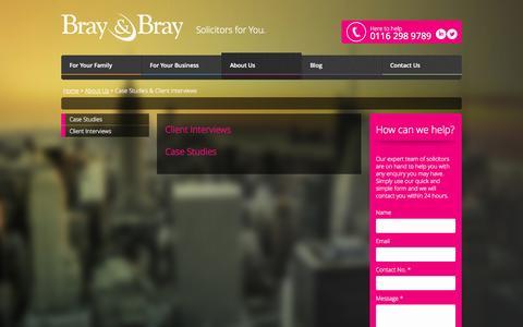 Screenshot of Case Studies Page braybray.co.uk - Case Studies & Client Interviews - Bray & Bray Solicitors - captured Sept. 30, 2014