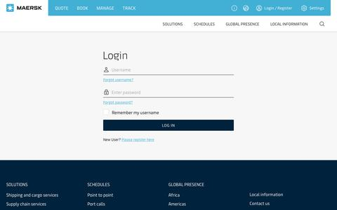 Screenshot of Login Page maersk.com - Login - Maersk Identity and Access Management Portal - captured July 19, 2019