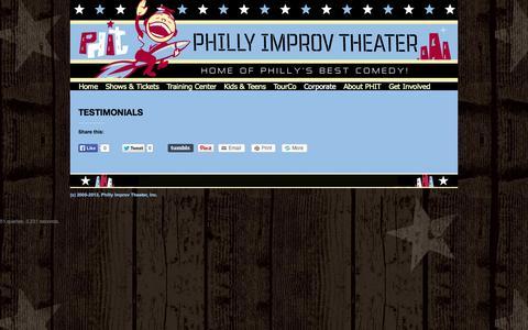 Screenshot of Testimonials Page phillyimprovtheater.com - Testimonials | Philly Improv Theater - captured Oct. 2, 2014