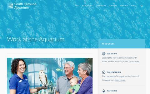 Screenshot of Jobs Page scaquarium.org - Careers - South Carolina Aquarium - captured Feb. 2, 2016