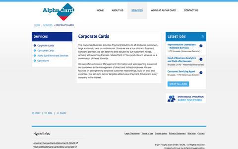 Screenshot of Services Page alpha-card.com - Corporate Cards | Alpha Card - captured Jan. 2, 2017