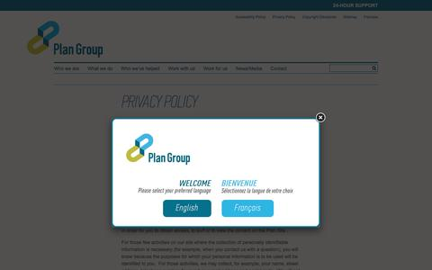 Screenshot of Privacy Page plan-group.com - Privacy Policy | Plan Group - captured Dec. 9, 2015