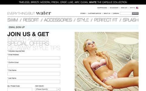 Screenshot of Signup Page everythingbutwater.com - Join Our Newsletter | Everything But Water - captured July 17, 2016