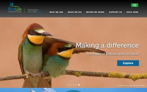 Screenshot of Home Page birdlife.org - BirdLife | Partnership for nature and people - captured Nov. 18, 2016