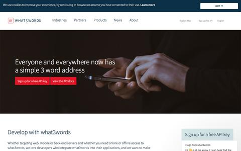 Screenshot of Developers Page what3words.com - Hugo says… - captured Aug. 6, 2018