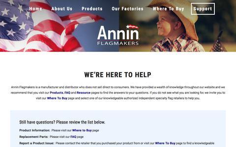 Screenshot of Support Page annin.com - Support – ANNIN FLAGMAKERS - captured Sept. 23, 2018