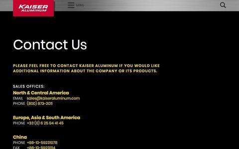 Screenshot of Contact Page kaiseraluminum.com - Contact Us – Kaiser Aluminum - captured April 21, 2018