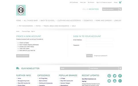 Screenshot of Login Page shopwithcarolinagirl.com - Shop With Carolina Girl Store - Sign in - captured Sept. 30, 2014