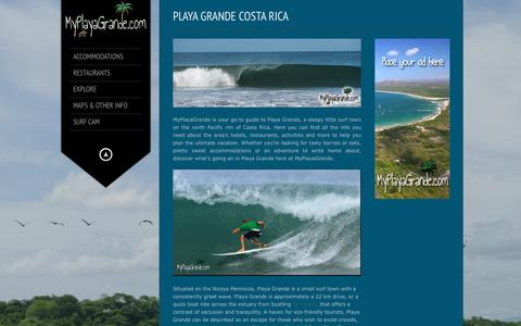 Screenshot of Home Page myplayagrande.com - My Playa Grande | Your go-to guide to Playa Grande Costa Rica - captured Oct. 16, 2015