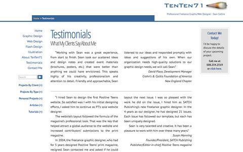 Screenshot of Testimonials Page tenten71.com - Testimonials   TenTen71 - captured Oct. 26, 2014