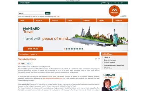 Screenshot of Terms Page mansardinsurance.com - Terms & Conditions - captured Oct. 27, 2014